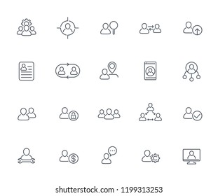 Team, human resources, HR, staff, personnel, group and collaboration line icons set