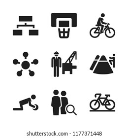 team icon. 9 team vector icons set. engineer, trekking and bicycle icons for web and design about team theme