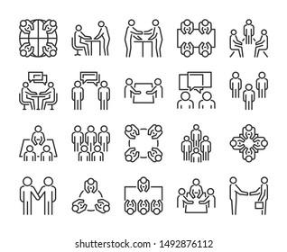 Team icon. Meeting line icons set. Vector illustration.