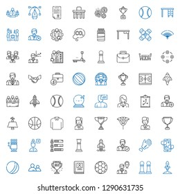 team icons set. Collection of team with startup, pawn, employee, football, biography, trophy, user, ball, negotiation, hand, chess piece, skills. Editable and scalable team icons.
