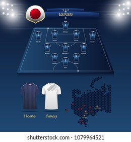 Team Japan soccer jersey or football kit with match formation tactic infographic. Football player position on football pitch and stadium map. Vector Illustration.