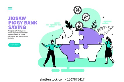 team with jigsaw piggy bank, saving money vector illustration