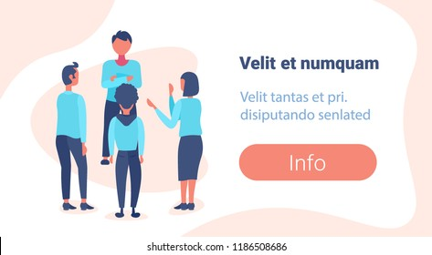 team leader business people brainstorming concept office workers teamwork successful leadership strategy flat male female cartoon character horizontal copy space vector illustration