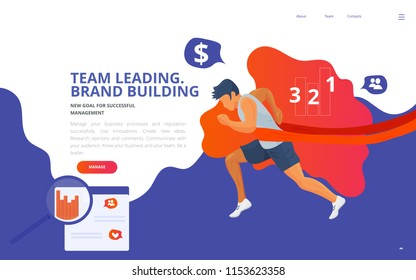 Team leader training coaching concept vector illustration. Team building leading online or offline course site landing page wireframe, teamwork coaching presentation template. Running winning leader