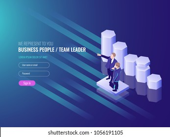 Team leader, work team go to the success, two busness man, schedule up, marketing concept and data analysis IT isometric 3d vector