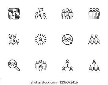 Team line icon set. Staff, success, personnel selection. Teamwork concept. Can be used for topics like friendship, collaboration, working together