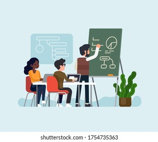 Team makes a study on business strategy analysing business metrics and gathered data concept vector illustration. Cool vector illustration on teamwork with modern company characters having a meeting