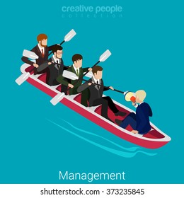 Team management flat 3d isometry isometric business concept web site vector illustration. Businessmen workers rowing oars in boat and manager with megaphone. Creative people collection.