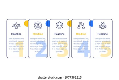 team management, HR, people, business infographics, 1, 2, 3, 4, 5 steps banner design with line icons