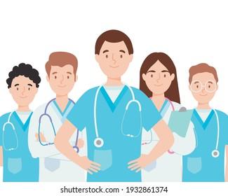 team of medical doctors smiling
