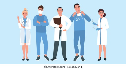 A team of medical specialists. The main doctor is a neurologist and a dentist. Medical specialties. Vector illustration of medical professions