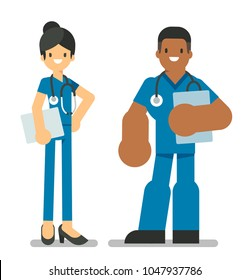 Team of medical workers standing on a white background. Hospital staff. Vector illustration, character design in flat style.