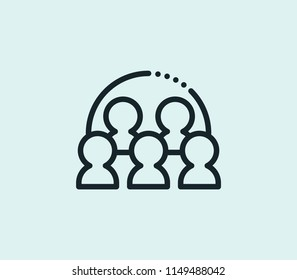 Team meeting icon line isolated on clean background. Team meeting icon concept drawing icon line in modern style. Vector illustration for your web mobile logo app UI design.