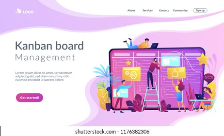 Team members moving cards on large kanban board. Teamwork, communication, interaction, business process, agile project management concept, violet palette. Website landing web page template.