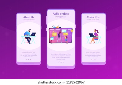 Team members moving cards on large kanban board. Teamwork, communication, interaction, business process, agile project management concept, violet palette. Mobile UI UX app interface template.