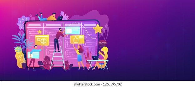Team members moving cards on large kanban board. Teamwork, communication, interaction, business process, agile project management concept, violet palette. Header or footer banner template.