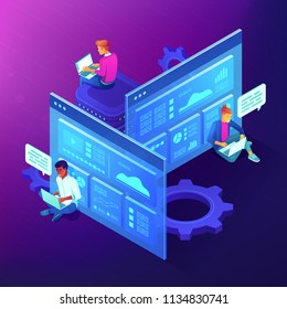 Team members working on laptops among screens with digital data displayed. Isometric teamwork, synergy, collaboration and partnership concept on ultraviolet background. Vector 3d illustration.