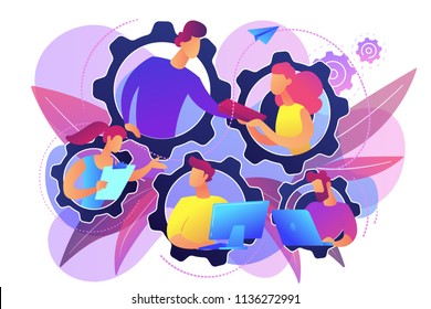 IT team members working as one mechanizm. Dedicated team - software development professionals engaged to the IT project. Business model in IT concept. Violet palette. Vector illustration