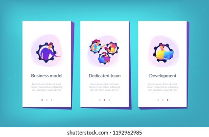 IT team members working as one mechanizm. Dedicated team - software development professionals engaged to the IT project. Business model in IT concept. Violet palette. Mobile UI UX app interface
