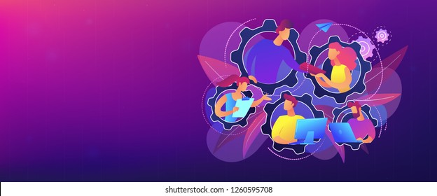 IT team members working as one mechanizm. Dedicated team - software development professionals engaged to the IT project. Business model in IT concept. Violet palette. Header or footer banner template.