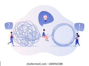 Team metaphor concept. Tangle tangled and unraveled. Modern flat cartoon style. Vector illustration