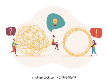 Team metaphor concept. Tangle tangled and unraveled. Flat cartoon style. Vector illustration