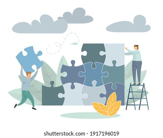 Team metaphor people connecting puzzle elements. Business concept. Vector illustration flat design style. Symbol of teamwork, cooperation, partnership