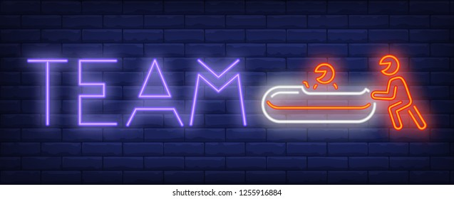 Team neon sign. Glowing inscription with bobsleigh and two sportsmen on brick wall background. Vector illustration can be used for sport, competition, bobsleigh