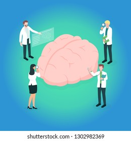 Team of occupational therapist (or medical professional) checking and assessment the problems of a brain. Concept picture for cognitive rehabilitation in Alzheimer disease and dementia patient.