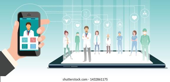 Team of online Doctors. Medical Concept design