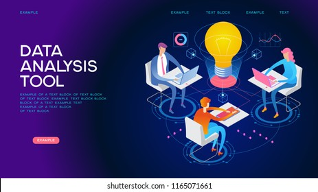 А team of people build a chart and graphs. Concept of the idea of innovative data analysis. Data analysis. Page template. 3d isometric illustration