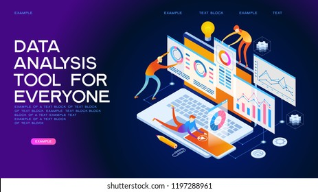 team of people build a chart and graphs. Concept of of innovative data analysis. Data analysis. Page template. 3d isometric illustration