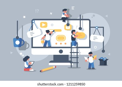 Team of people building or designing computer app. Website application creative design development concept. Teamwork strategy. Flat. Vector illustration.