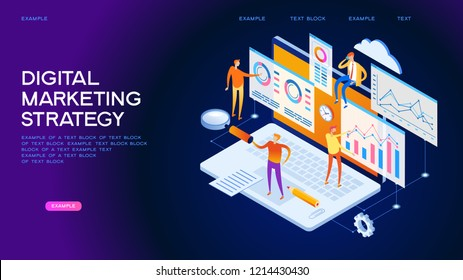 A team of people builds a chart and graphs. The concept of the idea of marketing digital strategy. Data analysis. Page template. 3d isometric illustration