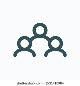 Team of people isolated icon, teamwork users group linear vector icon