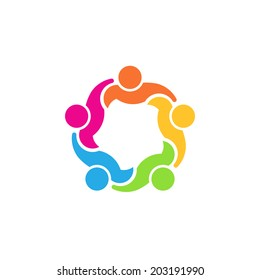 Team People logo 5 council.Concept group of people united, social guys, partners.Vector icon