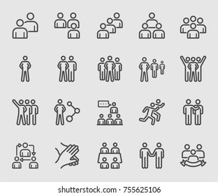 Team people, Teamwork, Partnership, Success line icon
