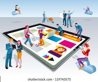 A team of people work creatively together creating content for digital tablets. Other people download this content on their mobile devices.