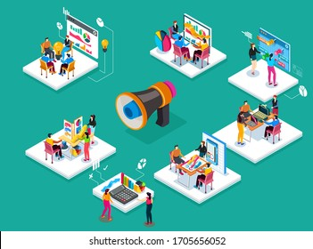 Team of people is working on different projects. Product presentation, generation of new ideas, finding ways to solve problems. Detailed flat isometric business illustration.
