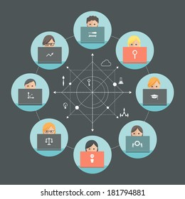 Team of People Working on Laptops. Team Roles and Teamwork Concept. Flat design