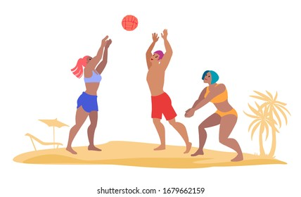 Team play beach volleyball. Active summer leisure. Sport game players hand drawn cartoon characters with tropical sand beach on background. Flat color vector illustration.