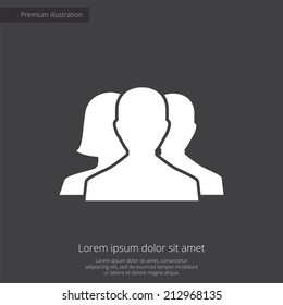 team premium illustration icon, isolated, white on dark background, with text elements