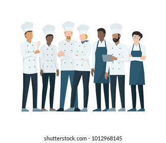 Team of professional chefs standing together on white background