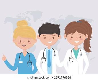 team professional world medical staff practitioner cartoon character vector illustration