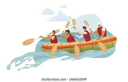 Team in Rowing Boat Cartoon Vector Illustration. Rafting Sports Competition in Wild River. People Group Wearing Lifesavers, Paddling Together. Extreme Hobby, Active Tourism, Dangerous Adventure