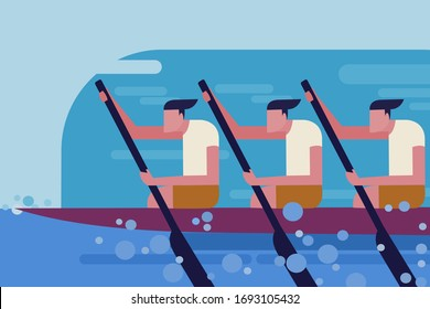 A team rowing a boat in the boat race