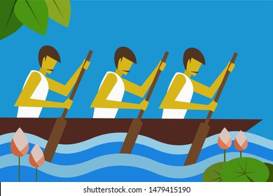 A team rowing in boat race. Concept for boat racing in the backwaters of Kerala