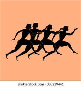 team running concept. Greece runers. Silhouette of sports people