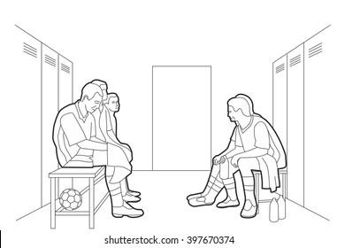 Team sits in the locker room. Vector black illustration on white background