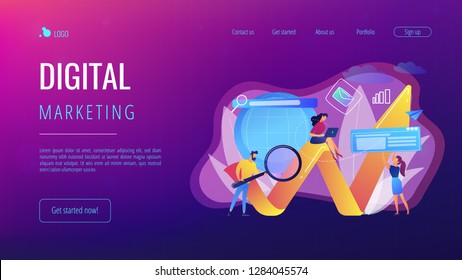 Team of specialists with magnifier and laptop and arrow. Digital marketing, PPC campaign, customer relationships concept on white background. Website vibrant violet landing web page template.